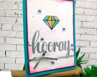 Engagement Watercolor Diamond Hooray Handmade Card