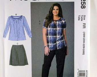 McCall's 7258, Women's Tops, Skirt and Pants Sewing Pattern, Women's Patterns, Sewing Pattern, Plus Size Patterns, Women's Size 18W - 24W