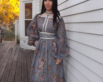 Gunne Sax Dress Victorian Reenactment Blue Floral Vintage 70s Lace 1970s Prairie Full S