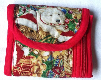 Christmas Puppies Dogs Tri Fold Wallet,Quilted,Handcrafted,Four Compartments,Nothing Falls Out,Securely Holds,Puppy Dog Zippered Wallet