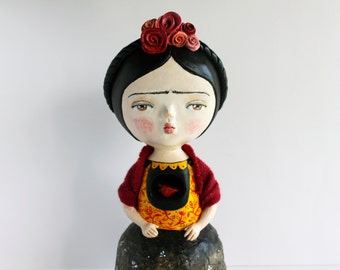 Black Friday Cyber Monday sale 20% OFF - Frida ooak doll - One of a kind art sculpture - Paper clay hand sculptured figurine -Frida Kahlo