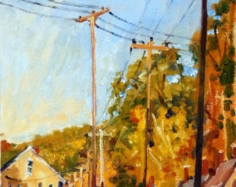 Mill Houses and Poles, Late in the Day, Autumn. Original Oil on Panel, 10x20 Plein Air Autumn Landscape Painting, Signed Original Fine Art
