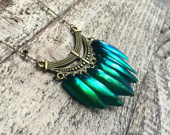 Khaleesi necklace REAL BEETLE WING Jewelry Mermaid necklace Daenerys necklace Mother of dragons Wings of Beetle wings Green Elytra jewelry