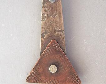Silver Copper Triangle Rivet Pendant