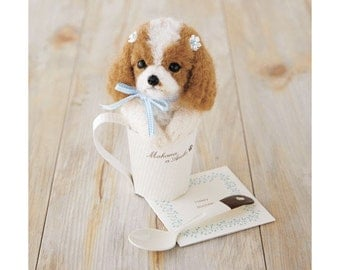 SALES 30% OFF Realistic Dog Series Needle Felt Hamanaka wool felt Kit Cavalier in Cup--- Japanese Craft Kit H441-439 (12.5cm)