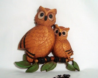 Owls Wall Plaque Vintage Homco Mother and Baby 1976 Home Interiors