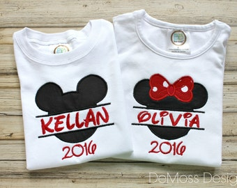 Disney Ears Framed Personalized, Shirt, Bib, or Hand Towel, Appliqued, Short or Long Sleeve Shirt,  Terry Cloth Bib,Totally Custom