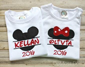 Disney Ears Framed Personalized, Shirt, Bib, or Hand Towel, Appliqued, Short or Long Sleeve Shirt,  Terry Cloth Bib,Totally Custom