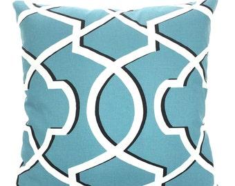 SALE Blue Pillow Covers, Decorative Throw Pillows, Cushions, Regatta Blue Black White Morrow, Couch Bed Sofa, Geometric, Various Sizes