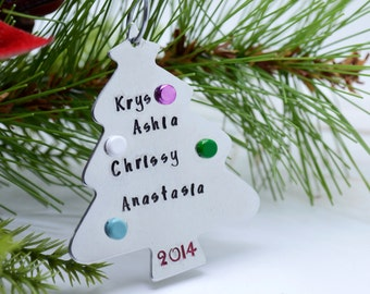 Handmade Christmas Tree Ornament - Family Christmas Ornament - Stamped Metal Christmas Tree Decoration - Family Christmas Holiday Keepsake