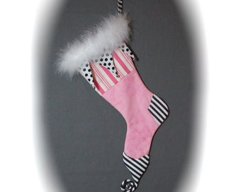 Harlequin Christmas Stocking Pink and Black and White Jester Style Elf Curly Toe Stocking