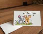 Mice I Love You Enclosure Card, Cards for Kids, Love Notes, Kids Gift, Lunchbox Notes, Tiny Cards, Mouse - 2 x 3.5 Mini Card with Envelope
