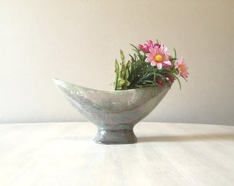 Vintage planter, lustreware planter, mid century lusterware, lusterware vase, silver grey vase, vintage vase, succulent planter, iridescent