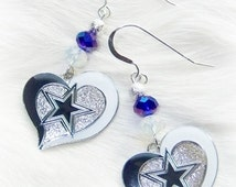 Dallas Cowboy Earrings, Love My Cowboys, Blue and White Crystal Earrings, Pro Football Jewelry Bling, Dallas Cowboy Jewelry