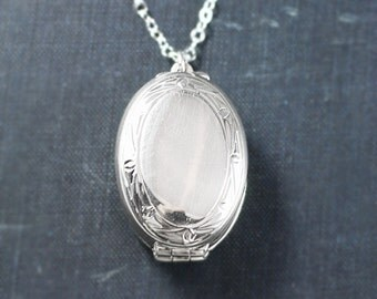 Four Photo Sterling Silver Family Locket Necklace, 4 Picture Plain Simple Border Oval Pendant - Modern Keepsake