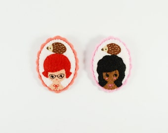 47% SALE Hedgehog Girl Felt Brooch / Felt Girl Brooch / Hedgehog Pin / Animal Brooch / Woodland Girl Pin / Miniature Portrait Brooch