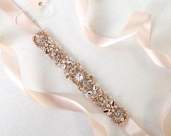 Rose Gold and Blush Crystal Bridal Belt- Custom- Swarovski Crystal Bridal Sash- Custom Bridal Belt