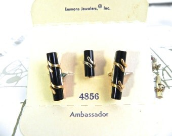 Vintage 50s Black Bamboo Stick Cufflink and Tie Tack Set , Emmons 1950s Cuff Links NIB dead stock - on sale