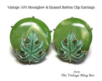 50s Clip-on Earrings in Green Moonglow & Enameled Leaf Overlay on Silver Backing - Vintage 50's Lucite Plastic Costume Jewelry