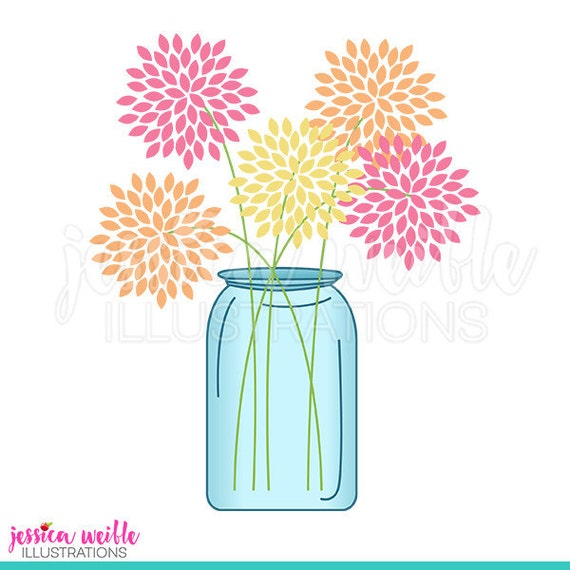 mason jar of flowers cute digital clipart cute flowers clip art rh catchmyparty com mason jar clip art for cnc mason jar clip art images