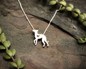 Whippet necklace, sterling silver hand cut pendant with heart, tiny dog breed jewelry
