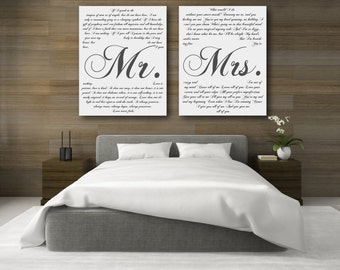 5th Anniversary Gift, Fifth Anniversary Gift, Mr And Mrs Sign, Personalized Canvases