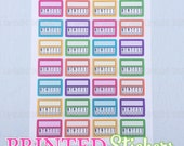 Weekly Sidebar Habit Trackers - Rainbow - printed kiss cut stickers for your planner or calendar - full sheet - MATTE - GRCS