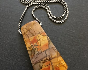 Jasper Necklace , Natural Stone Necklace , Long Necklace , Large Necklace , Orange Necklace , Colorful Necklace , Big Necklace , Amy FIne