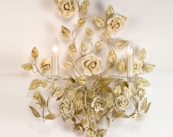 Florence art wrought iron ivory and sconce with porcelain roses customizable