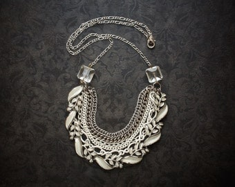 White Enameled Chain Bib Necklace with Vintage Silver Chain and Crystal Squares
