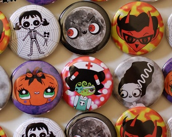 Halloween monsters buttons pinback badges of your choice