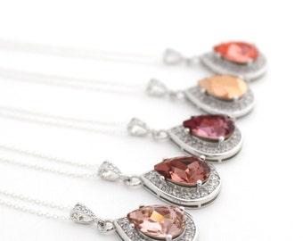 Blush Bridal Jewelry, Blush Wedding Necklace, Rose Gold Necklace, Peach Necklace, Rose Quartz Necklace Swarovski, Rose Gold Bridal Jewelry