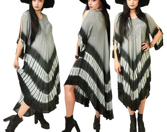 Vintage Indigo Moon Tie Dye Caftan Dress // M L