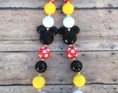 Red Mickey Mouse Chunky Necklace, Chunky Necklaces, Girls Necklaces, Mickey Mouse Necklace, Photo Prop, Chunky Gumball Necklaces