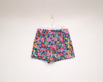 Vintage 1980s Sexy Plus Size High Waisted Floral Denim Short Shorts