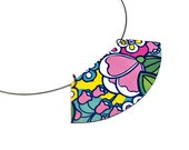 Colorful Flower Bib Necklace, Floral Jewelry, Statement Necklace, Reversible