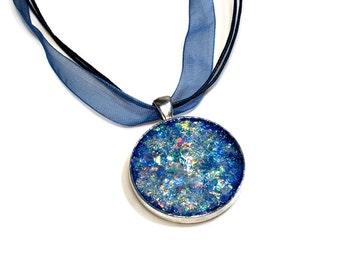 Blue Pendant, Sparkly Necklace, Fire Opal, Druzy, Gifts for Her
