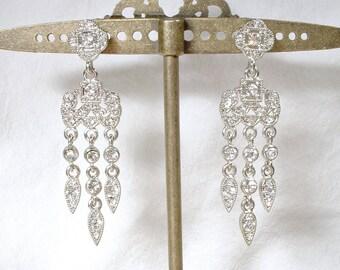 Vintage Art Deco Chandelier Earrings, 1920 Style Pave Rhinestone Dangle Bridal Statement Earrings, Paste Gatsby Flapper Vintage Wedding