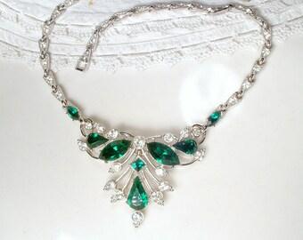 Art Deco Emerald Green Bridal Necklace Vintage 1940 ORA Signed Paste Rhinestone Choker Statement Necklace Green Great Gatsby Wedding Jewelry
