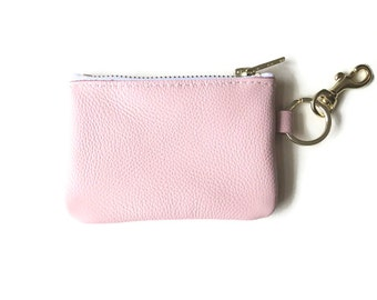 Leather coin purse, Leather pouch, Leather zipper change purse, Blush pink leather pouch, Gift for her, Bridemaids gift