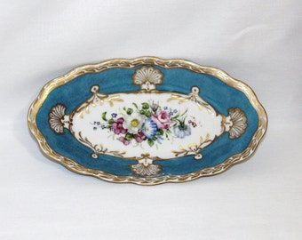 P K Silesia Relish Dish - Flowers and Mottled Blue - Hand Painted and Signed  (1222-1)