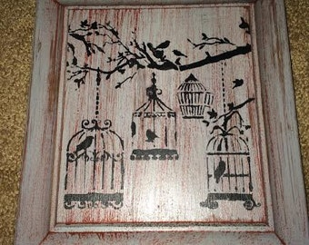 Birdcage Branch Bird Wood Sign Gray Red Rustic