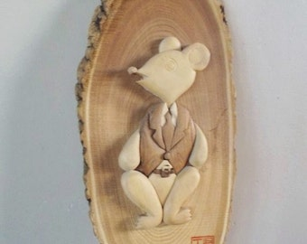 Vintage Japanese Carved Wooden Mouse Plaque