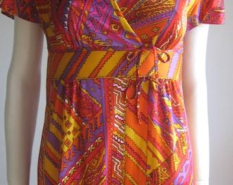 Vintage 70s  boho tribal long  dress