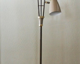 Vintage Mid Century 3 Shade Metal Floor Lamp - Brown