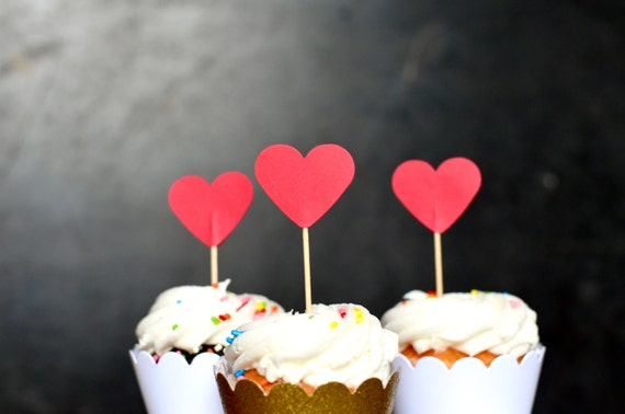 Red Heart Cupcake Toppers, as seen in Romantic Homes