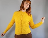 Vintage 60s Women's Saffron Mod Yellow Pointelle Fall Winter Office Cardigan Sweater