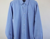 Brooks Brothers Dress Shirt /  Blue Stripes Shirt / Cotton Dress Shirt / Mens / Medium / GOGOVINTAGE