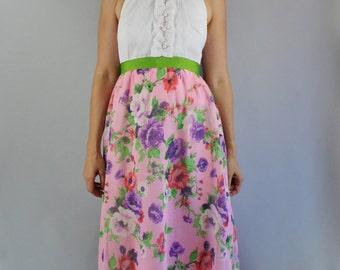 Vintage 70s Women's Pink Purple Roses Print Boho Summer Garden Party Wedding Guest Maxi Gown Dress