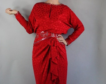 80s does 40s Women's Dress, Party Dress, Red Silk, Beaded Dress, Long Sleeve, Torch Singer, Cocktail Party, Formal, Glam Small